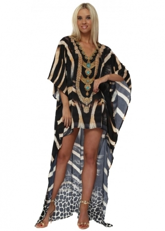 Exotic Tiger Print Hi Low Crystal Embellished Kaftan Dress