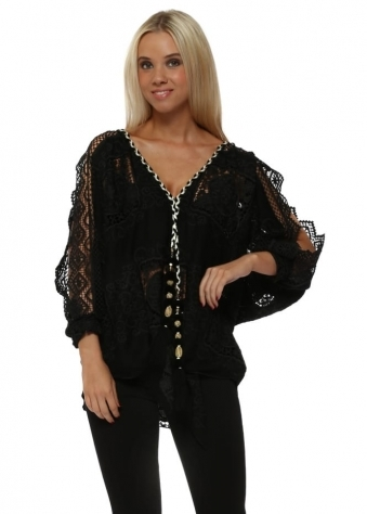 Black Crochet Lace Cold Shoulder Tie Top