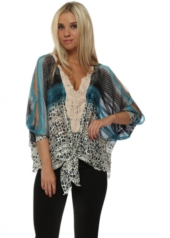 Blue Ombre Leopard Print Chiffon Cold Shoulder Top