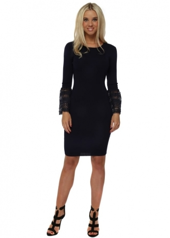 Navy Blue Knitted Midi Dress With Bell Lace Cuffs