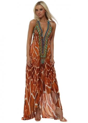 Sahara Amber Animal Print Halter Neck Maxi Dress