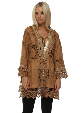 Tan Crochet Lace Gold Sequin Tunic Top