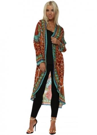 Sahara Amber Animal Print Crystal Kimono