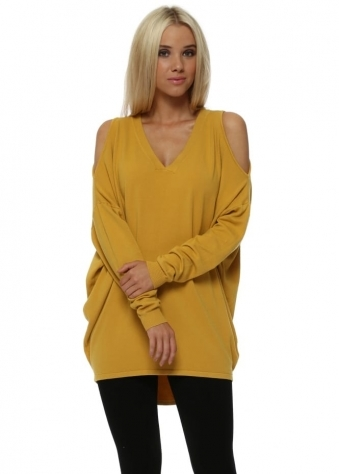 Mustard Cold Shoulder Slouch Jumper