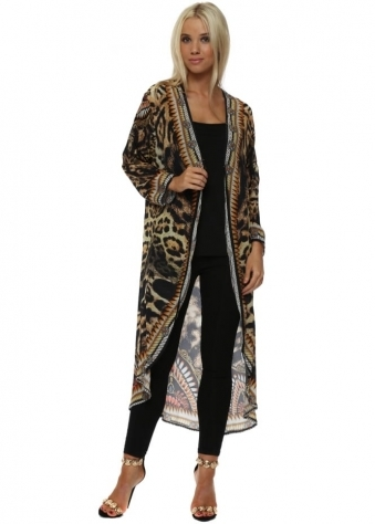 Exotic Amber Leopard Print Crystal Kimono