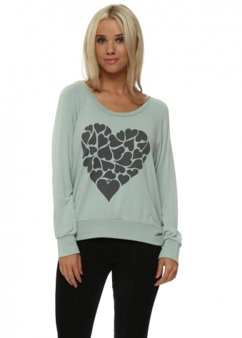 Love Heart Printed Sweater In Silt