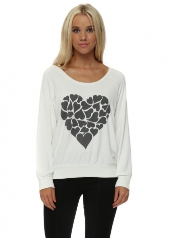 Love Heart Printed Sweater In Vanilla