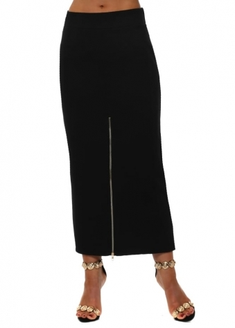 Premium Collection Black Zipped Biker Pencil Skirt