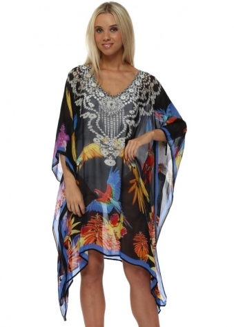 Black Tropical Bird Crystal Embellished Kaftan