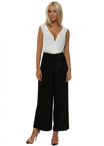 Black & White Slinky Pleated Wide Leg Jumpsuit