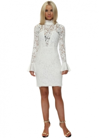 Lily Lace Ruffle Neck Fitted Mini Dress