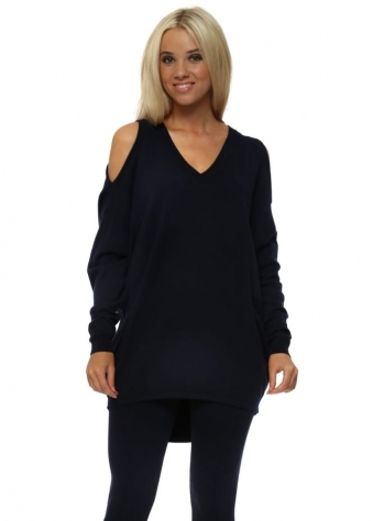 Navy Cold Shoulder Slouch Jumper