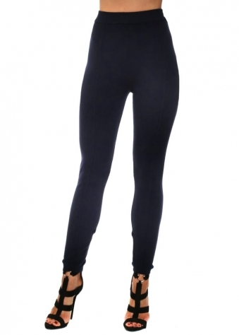 Navy Blue Knitted Leggings