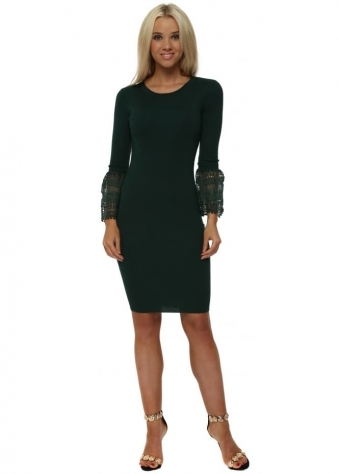 Green Knitted Midi Dress With Bell Lace Cuffs