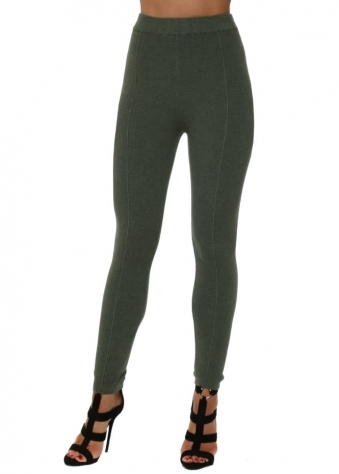 Khaki Green Knitted Leggings