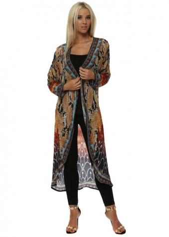 Exotic Amber Snake Print Crystal Kimono