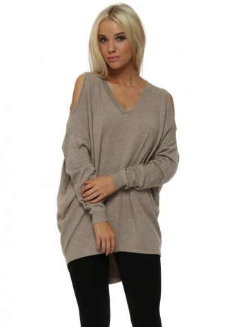 Beige Cold Shoulder Slouch Jumper