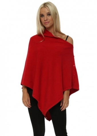 Scarlet Red Knitted Button Poncho