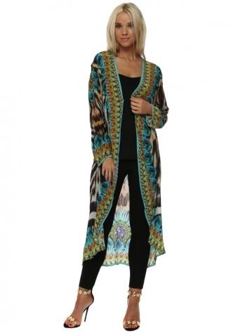 Exotic Turquoise Safari Print Crystal Kimono