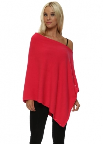 Hot Pink Knitted Button Poncho