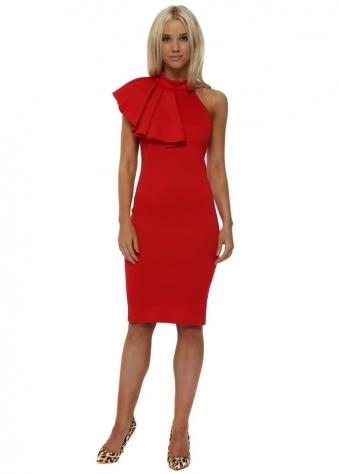 Red Asymmetric Frill Detail Midi Dress