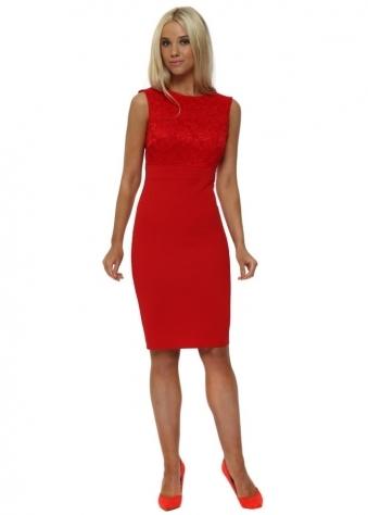 Red Sleeveless Lace Bodycon Midi Dress