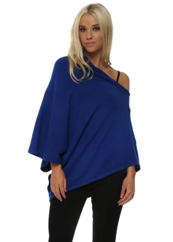 Cobalt Blue Knitted Button Poncho