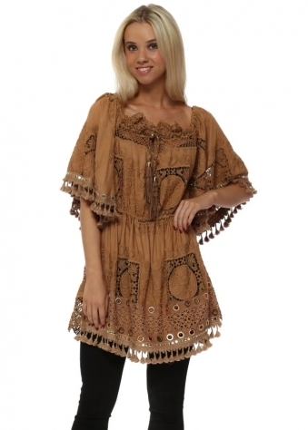 Tan Crochet Lace Bardot Mini Tunic Top