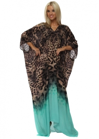 Exotic Jade Leopard Print Maxi Kaftan Dress