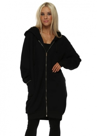 Penelope Black Hooded Fleece Parker