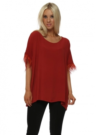 Rust Feather Sleeve Oversized Short Top
