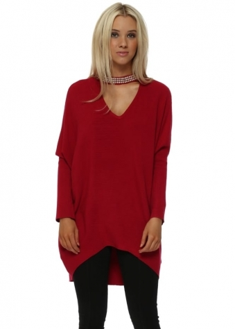 Red Diamante Choker Necklace Jumper
