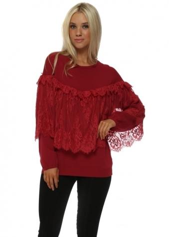 Red Romantic Lace Fine Knit Jumper