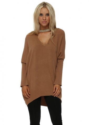 Camel Diamante Choker Necklace Jumper