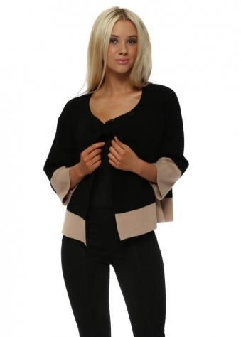 Black Contrast Knitted Box Style Jacket
