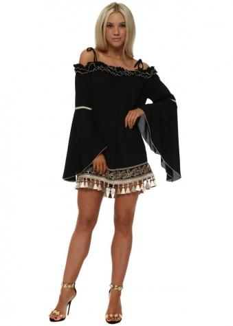 Black Ruffle Embellished Off The Shoulder Mini Tunic