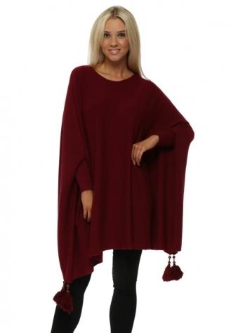 Burgundy Knitted Tassel & Pearl Poncho Jumper