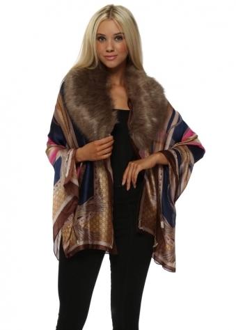 Blue & Pink Luxe Chain Print Faux Fur Collar Silk Wrap