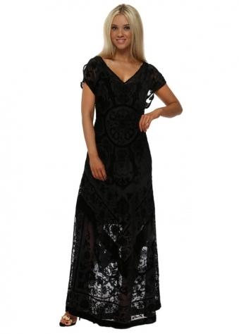 Silk Floral Devore Black Maxi Dress