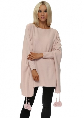 Baby Pink Knitted Tassel & Pearl Poncho Jumper
