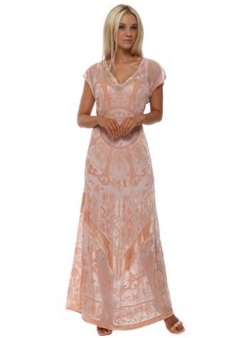 Silk Floral Devore Rose Pink Maxi Dress