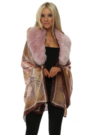 Pink Luxury Chain Print Faux Fur Collar Silk Wrap