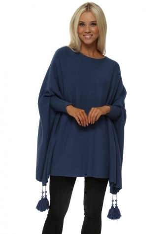 Blue Knitted Tassel & Pearl Poncho Jumper