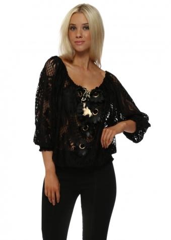 Black Lace Floral Leatherette Top