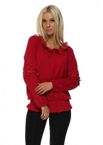 Red Floral Crochet Lace Blouson Jumper