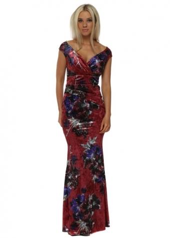 Rouge Red Bardot Velvet Floral Print Maxi Dress