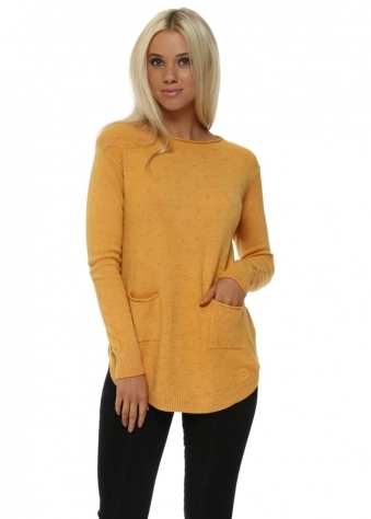 Mustard Bobble Pocket Tunic Jumper