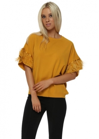 Mustard Short Sleeve Feather Trim Jumper