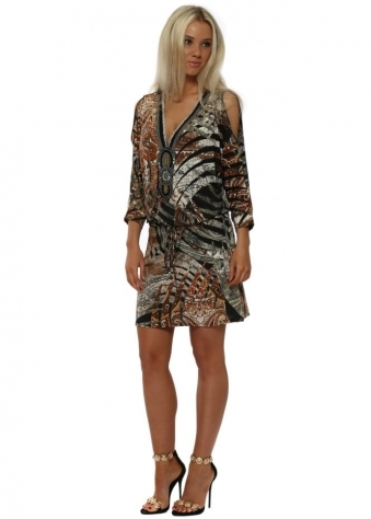 Amber Paisley Print Beaded Cold Shoulder Tunic Dress