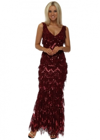 Red Sequin Flapper Maxi Dress